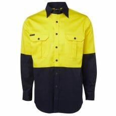 6HWL Hivis Long Sleeve Cotton Drill Shirt