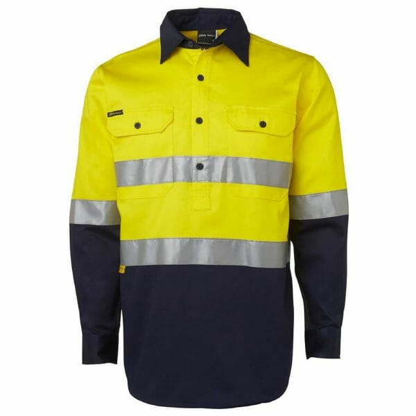 Hivis Long Sleeve Closed Front (D+N) Cotton Drill Shirt