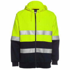 HiVis Full Zip Fleecy Hoodie, 3M Reflective Tape